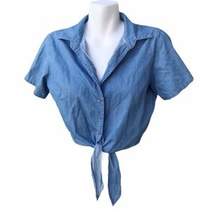 American Apparel Denim Cropped Front Tie Shirt